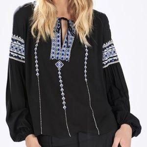Parker Acres Embroidered Black Blouse Size L
